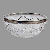 Gorham Large Cut Glass Bowl Beaded Rim Sterling Silver 1897