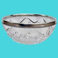 Gorham Large Cut Glass Bowl Beaded Rim Sterling Silver 1897