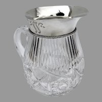 Gorham Cut Glass Water Pitcher Beaded Rim Sterling Silver 1897 Mono