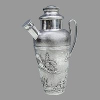 Chinese Export Silver Scenic Cocktail Shaker Wang Hing 1900