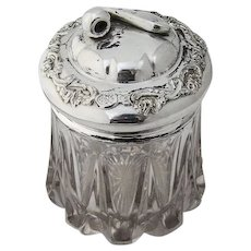 Pipe Finial Tobacco Humidor Cut Glass Silverplate 1890