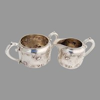 Gorham Rose Scroll Creamer Sugar Bowl Sterling Silver 1899 Mono