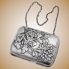 Chrysanthemum Cigarette Case Japanese Pure Silver Mono