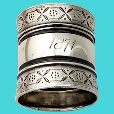 Wide Engraved Border Napkin Ring Coin Silver 1871