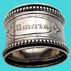 Beaded Engine Turned Napkin Ring Coin Silver 1865 Mono