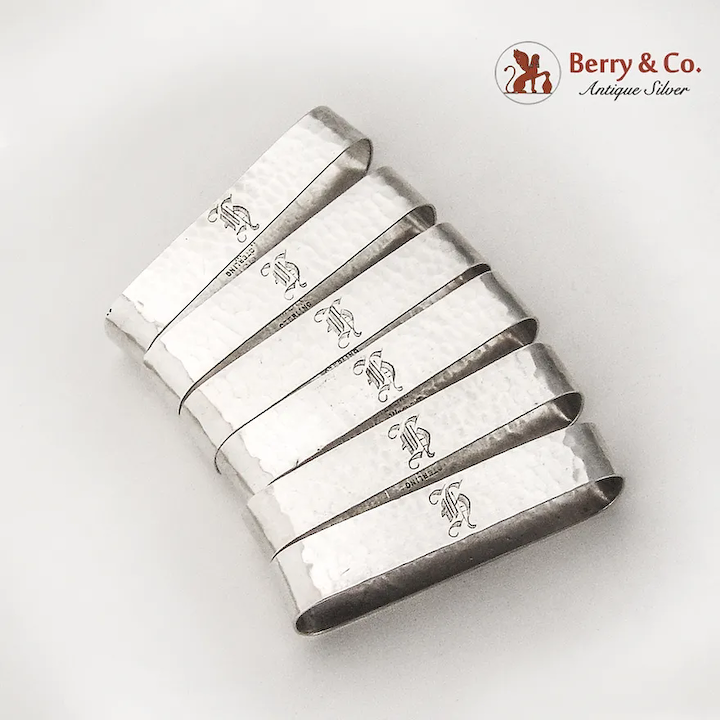 Arts And Crafts Oval Napkin Rings Set Randahl Sterling Silver Mono Berry Company Antique Silver Ruby Lane
