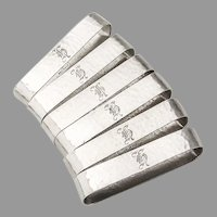 Arts And Crafts Oval Napkin Rings Set Randahl Sterling Silver Mono