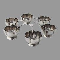 Mexican 6 Open Salt Dishes Salt Spoons Set Maciel Sterling Silver
