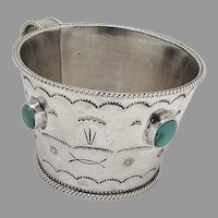 Navajo Baby Cup Turquoise Insets Rope Borders Sterling Silver