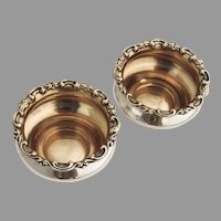 Scroll Border Open Salts Pair Gilt Interior Watson Sterling Silver
