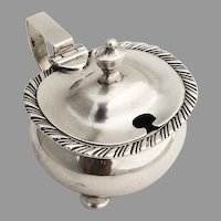 English Mustard Pot Gadroon Rim Glass Liner Sterling Silver 1895