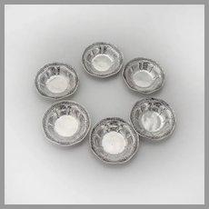 Floral Fluted 6 Nut Cups Dishes Set Webster Sterling Silver