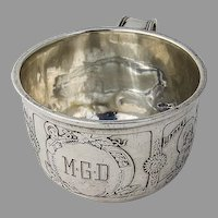Acid Etched Nursery Rhyme Baby Cup Gorham Sterling Silver Mono