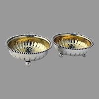 Tiffany Beaded Fluted Open Salts Pair Gilt Interior Sterling Silver Mono