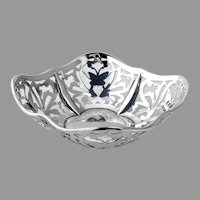 English Cutwork Butterfly Bon Bon Bowl Pithey Sterling Silver 1912