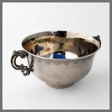 Spanish Colonial Two Handled Bowl Engraved Rim 900 Silver 1864