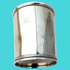 Julep Cup Applied Beaded Border Jaccard Coin Silver 1860 Mono Leo
