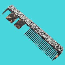 English Cherub Scroll Hair Comb Levi Salaman Sterling Silver 1903