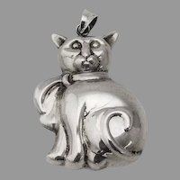 Cat Christmas Ornament Pendant Sterling Silver 1980