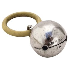 English Jingle Bell Baby Rattle Colen Cheshire Sterling Silver 1897