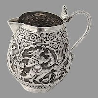 Indian Ornate Repousse Creamer Cobra Handle Sterling Silver