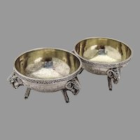 George Sharp Open Salts Pair Ram Feet Sterling Silver 1860s Mono FSL