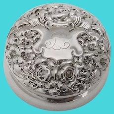 Repousse Floral Bon Bon Box Gorham Sterling Silver 1900 Mono JC