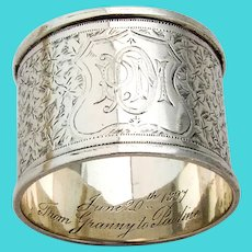 English Engraved Foliate Napkin Ring Sterling Silver 1896 Mono PDM