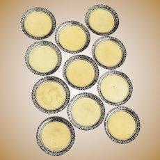 Japanesque 11 Butter Pats Set Gilt Bowls Meriden Britannia Silverplate