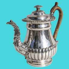 Regency Ornate Fluted Teapot Stag Crest Old Sheffield Plate 1811