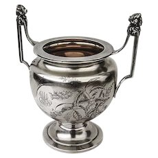 Engraved Sugar Bowl Caryatid Handles Gorham Sterling Silver 1881 JMA