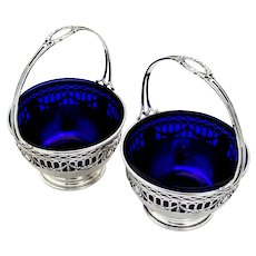 Sheraton Style Cutwork Baskets Pair Cobalt Liners Durgin Sterling Silver