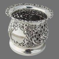 English Cutwork Ornate Bottle Caddy Coaster Sterling Silver 1896