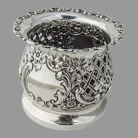 English Cutwork Ornate Bottle Caddy Coaster Sterling Silver 1896