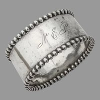Towle Beaded Rim Napkin Ring Sterling Silver Mono NEP