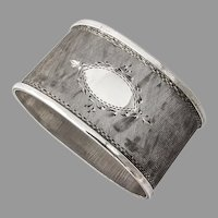 Matte Engraved Oval Napkin Ring 800 Standard Silver Italy