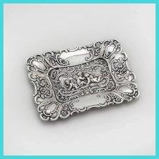 German Small Repousse Cherub Pin Tray Sterling Silver