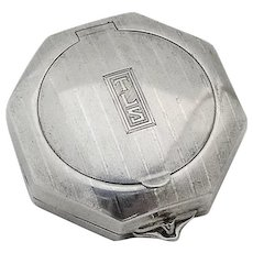 Art Deco Octagonal Double Compact Sterling Silver 1924 Mono TLS