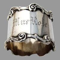 Scroll Border Napkin Ring Newburyport Sterling Silver 1910 Mono