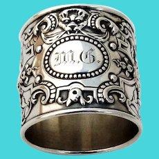 Old Baronial Large Napkin Ring Gorham Sterling Silver Mono MG