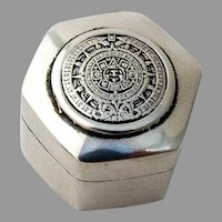 Mayan Calendar Hexagonal Pill Box Sterling Silver Mexico