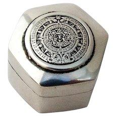 Mayan Calendar Hexagonal Pill Box Sterling Silver Mexico