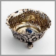 English Repousse Floral Open Salt Ball Feet Sterling Silver 1897