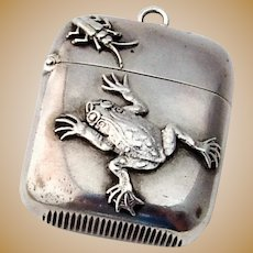 Shiebler Match Safe Vesta Frog Bug Motif Sterling Silver 1890