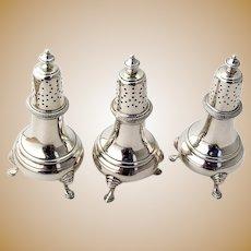 Howard Footed Salt Pepper Shakers Set Sterling Silver 1900
