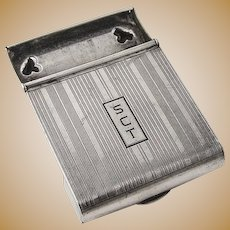 Art Deco Engine Turned Match Box Cover Kerr Sterling Silver Mono SCT
