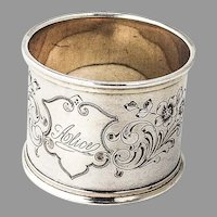 German Wide Floral Napkin Ring Binder 800 Standard Silver Mono Alice
