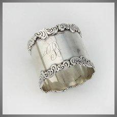 Scroll Wave Border Napkin Ring Sterling Silver Birks 1900 Canada