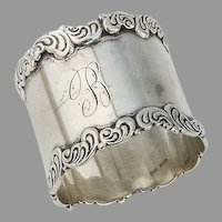 Scroll Wave Border Napkin Ring Sterling Silver Birks 1900 Canada