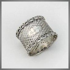 Pierced Gothic Style Napkin Ring Coin Silver 1870 Mono RMcC